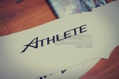 вышивка на коже кожзаме эко коже атлет athlete