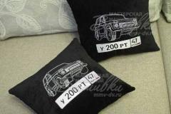 именная подушка с вышивкой госномера авто нива