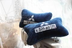 подушка косточка с вышивкой Митсубиси