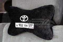 подушка подголовник косточка с вышивкой тойота с госномером