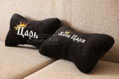 подушка подголовник косточка с вышивкой царь жена царя