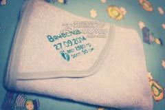 именное полотенце уголок с вышивкой детской метрики